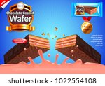 chocolate wafer with strawberry ... | Shutterstock .eps vector #1022554108