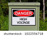 a danger high voltage sign on... | Shutterstock . vector #1022556718