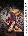 art femme fatale with long dark ... | Shutterstock . vector #1022561116