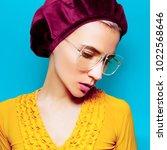model in fashion accessory... | Shutterstock . vector #1022568646