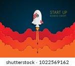 paper art of space shuttle... | Shutterstock .eps vector #1022569162