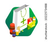 modern pharmacy and drugstore... | Shutterstock .eps vector #1022573488