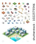 build your own isometric city . ... | Shutterstock .eps vector #1022575546