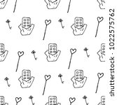 love symbols seamless pattern.... | Shutterstock .eps vector #1022575762