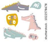 vector set with happy fun... | Shutterstock .eps vector #1022578678