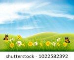 spring nature landscape... | Shutterstock .eps vector #1022582392