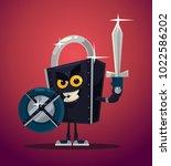 lock security warrior character.... | Shutterstock .eps vector #1022586202