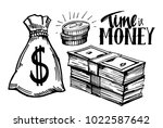 sketch of money. hand drawn... | Shutterstock .eps vector #1022587642