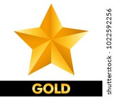 gold star 3d shiny metal... | Shutterstock .eps vector #1022592256