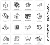 blockchain cryptocurrency icons....   Shutterstock .eps vector #1022596552