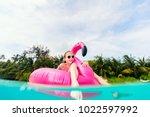 split underwater photo of... | Shutterstock . vector #1022597992