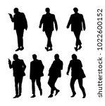 vector set of man silhouettes | Shutterstock .eps vector #1022600152