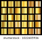 set of golden gradient... | Shutterstock .eps vector #1022605936