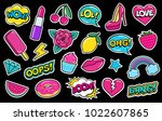 set of cute fashion patches ... | Shutterstock .eps vector #1022607865