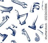 seamless plumbing pattern...   Shutterstock .eps vector #1022610886