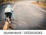 woman running on the road for... | Shutterstock . vector #1022616262