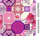 trendy violet   pink  floral  ... | Shutterstock .eps vector #1022619832