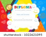 kids diploma or certificate... | Shutterstock .eps vector #1022621095