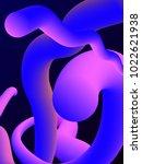 neon abstract 3d vector shape.... | Shutterstock .eps vector #1022621938