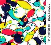 vector bowling seamless pattern.... | Shutterstock .eps vector #1022626222