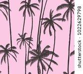 palm tree pattern. hand drawn... | Shutterstock .eps vector #1022629798