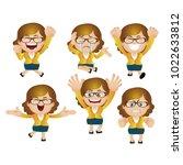 cute set   set of businesswoman ... | Shutterstock .eps vector #1022633812