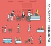 illustration set of supermarket | Shutterstock . vector #1022647402