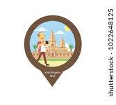 tourist visit angkor wat pin map | Shutterstock .eps vector #1022648125