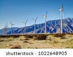 coachella valley windmills with ... | Shutterstock . vector #1022648905