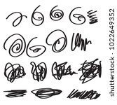 sketchy scribble set isolated... | Shutterstock .eps vector #1022649352