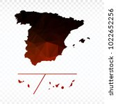red and black map polygonal... | Shutterstock .eps vector #1022652256