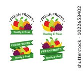 fresh fruits logo design vector ... | Shutterstock .eps vector #1022653402