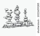 rock balancing or stone... | Shutterstock .eps vector #1022659285