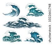 sea waves. vintage cartoon... | Shutterstock .eps vector #1022661748