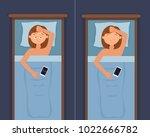 sleepless woman face cartoon... | Shutterstock .eps vector #1022666782