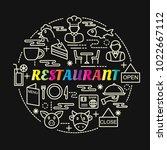 restaurant colorful gradient... | Shutterstock .eps vector #1022667112