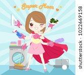 cute cartoon mom do work on the ... | Shutterstock .eps vector #1022669158