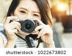 portrait of beautiful young... | Shutterstock . vector #1022673802