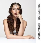 beauty portrait of young woman...   Shutterstock . vector #1022688202