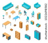 office furniture 3d icons set...
