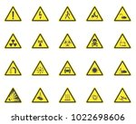 yellow warning hazard signs set ... | Shutterstock .eps vector #1022698606