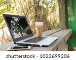 computer laptop and smart phone ...   Shutterstock . vector #1022699206