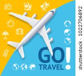 go travel concept with... | Shutterstock .eps vector #1022706892