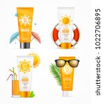 realistic 3d detailed sunscreen ... | Shutterstock .eps vector #1022706895