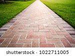 brick path or sidewalk with...