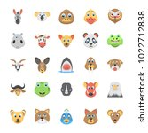 flat icon set of animals and... | Shutterstock .eps vector #1022712838