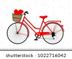 vintage red bicycle with heart... | Shutterstock .eps vector #1022716042