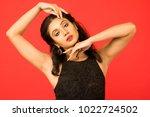 beautiful female model in black ... | Shutterstock . vector #1022724502
