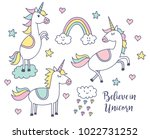 set of unicorn doodle | Shutterstock .eps vector #1022731252