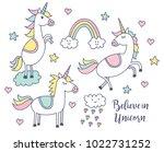 set of unicorn doodle | Shutterstock .eps vector #1022731252